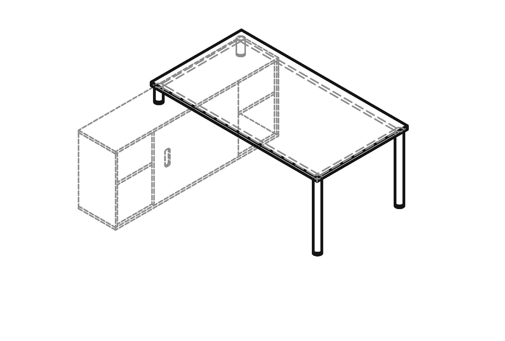 Schreibtisch h serie mit sideboard 1758 art office shop for Sideboard zeichnung