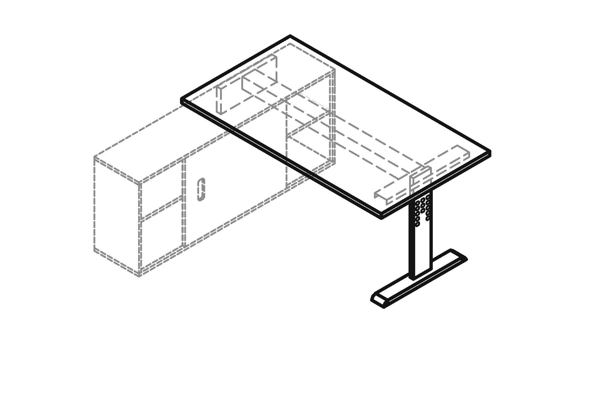 Schreibtisch o serie mit sideboard 1758 art office shop for Sideboard zeichnung